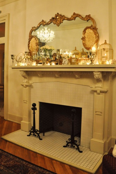 decorated mantle wedding