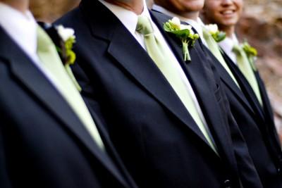 black white green wedding