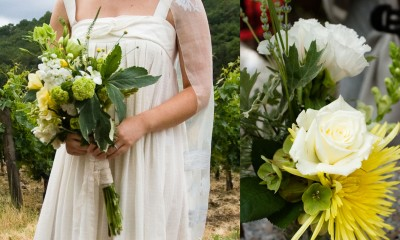 green and yellow rustic bouquet