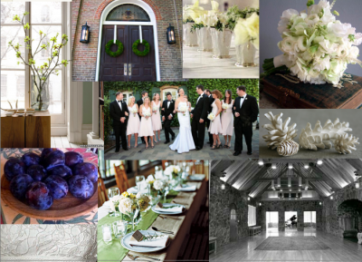 green, cream, brown, and plum inspiration board
