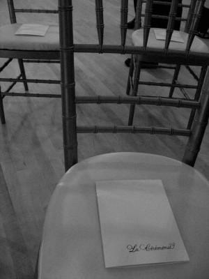 wedding program on chair
