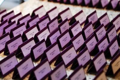purple escort cards