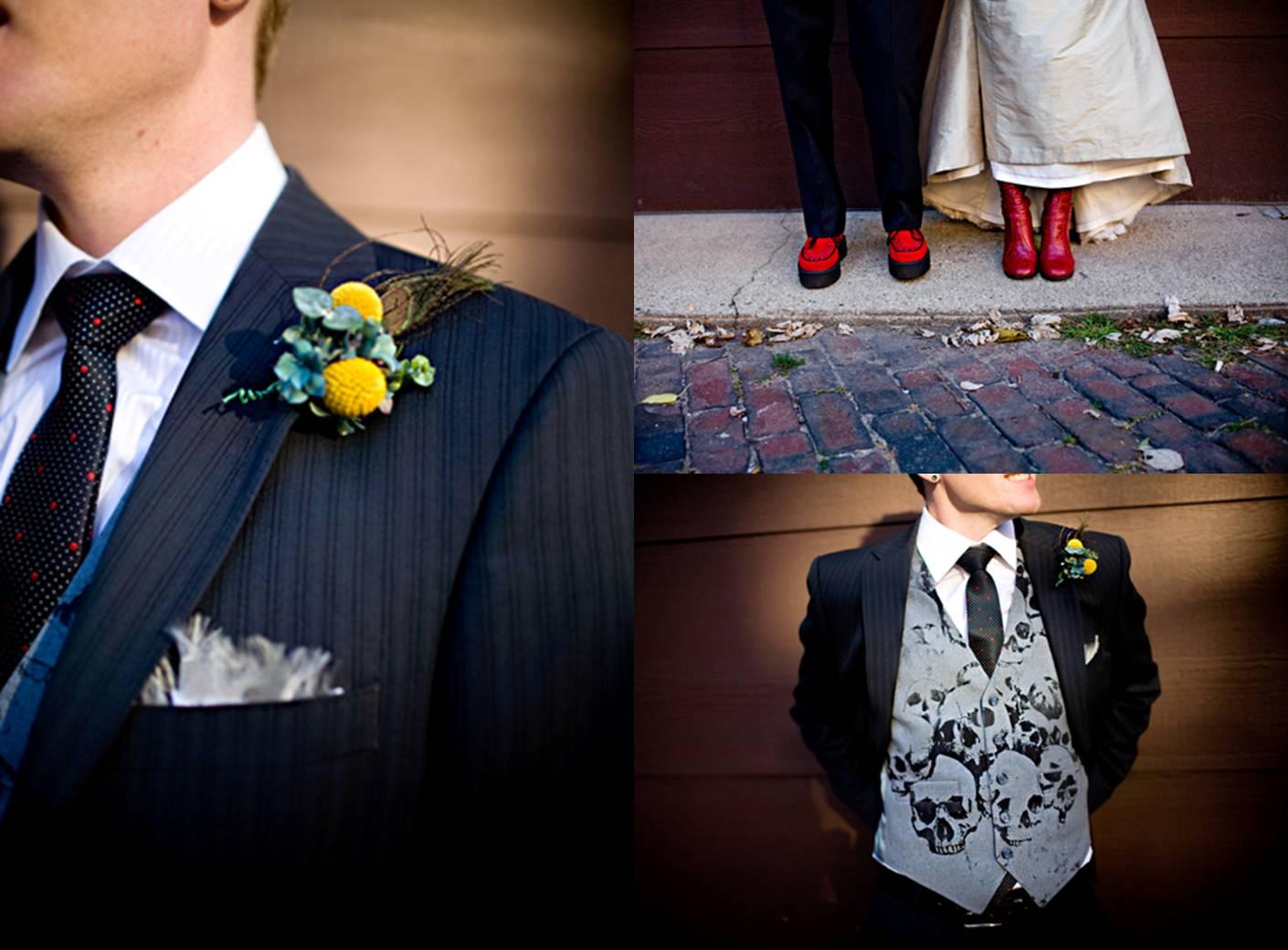 skull vest groom