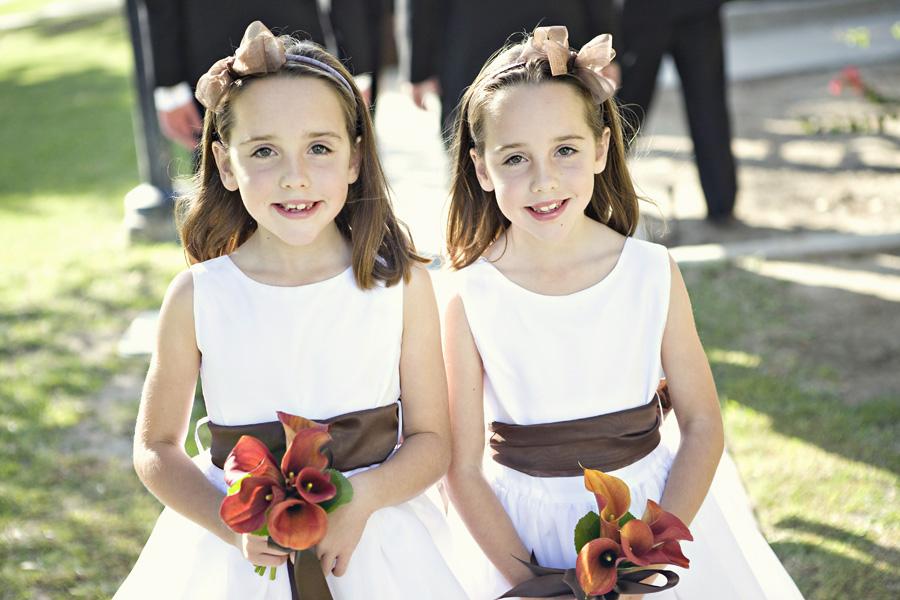 flower girls with brown sash