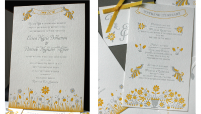 yellow and gray letterpress wedding invitations