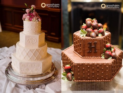 matching bride and groom cakes