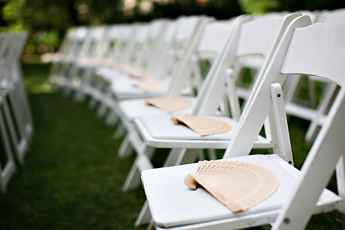Fans On Chairs Outdoor Ceremony Elizabeth Anne Designs The Wedding Blog