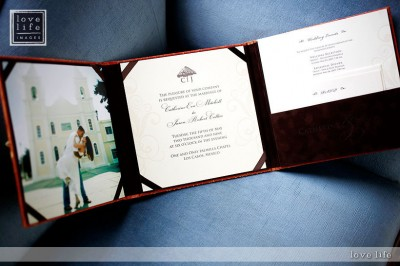 this is a folio invitation presented in a silk box i love how it incorporates a beautiful photo of the couple found at elizabeth ann designs - Boxed Wedding Invitations