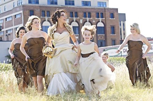 brown and champagne bridesmaids dresses