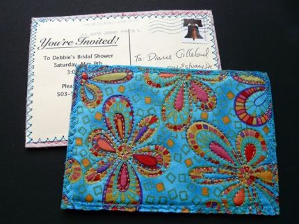 handmade fabric postcard