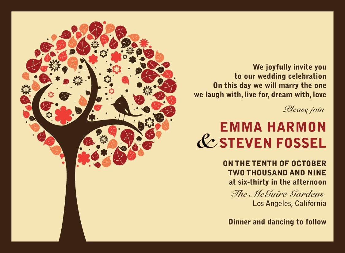 creative fall wedding invitation