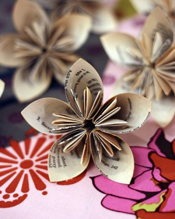 paper flowers. folded paper flowers
