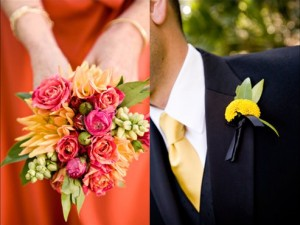 Pink-and-Orange-Bouquets