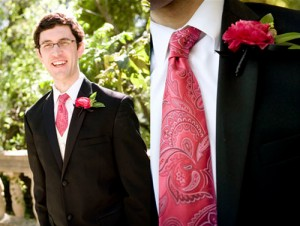 Raspberry-Tie-and-Boutonniere