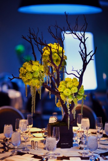 branch-centerpiece-with-chartreuse-rose-pomanders