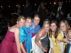 bridesmaids at reception