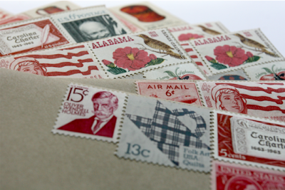 wedding invitations vintage stamps