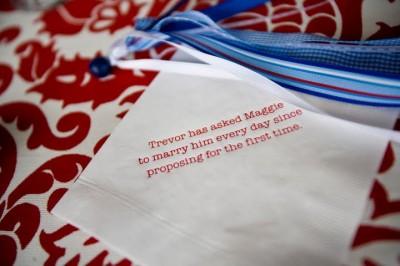 printed cocktail napkins with wedding trivia