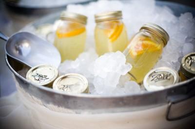 lemonade in mason jars with orange slices