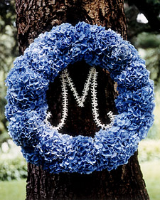monogram-letter-inside-blue-wreath-on-tree