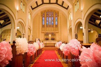 Pew altar and church door decor tissue paper flowers church pew decor junglespirit Images
