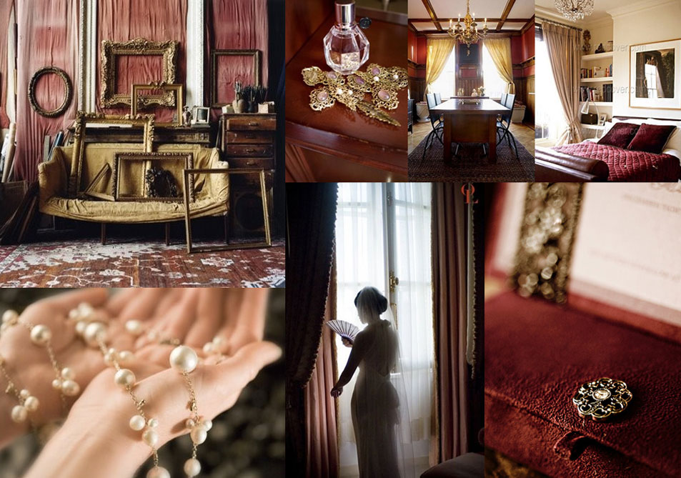 Burgundy and Gold Wedding Inspiration Board