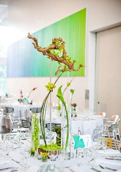 Modern green branch centerpiece elizabeth anne designs