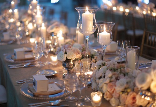Long Low Lush Estate Table Centerpieces All Roses And Candles