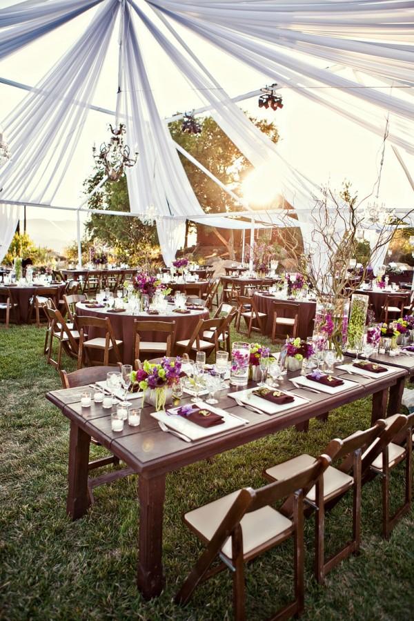 purple-green-pink-brown-wedding-reception-under-tent - Elizabeth ...