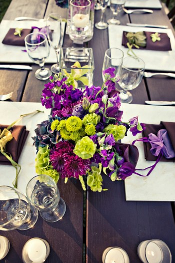 Purple and green centerpiece green and purple wedding