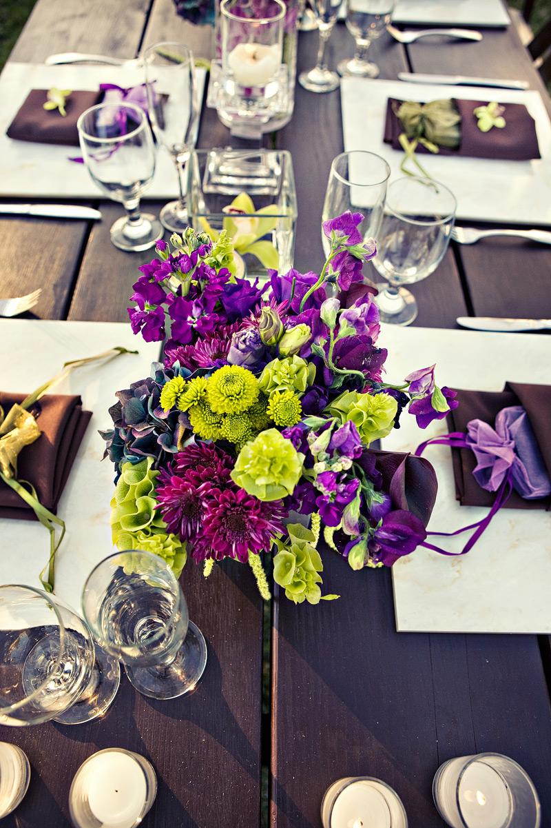 Purple Green Wedding Centerpieces