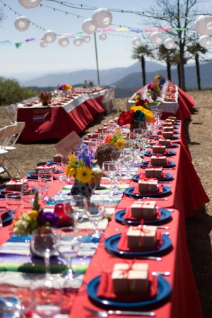 Red Blue Multicolored Mexican Fiesta Tables