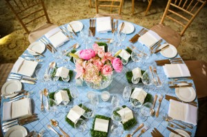 blue-linens-pink-centerpieces-wheatgrass-place-cards