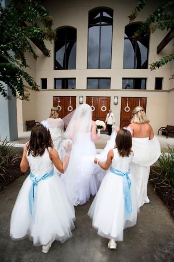 bride-and-bridesmaids-entering-church
