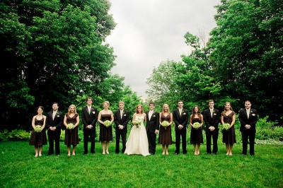 chocolate-brown-and-green-wedding-bridal-party