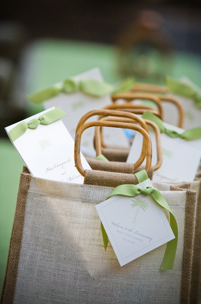 ... to the lowcountry with beautiful jute gift bags and lovely palm fans