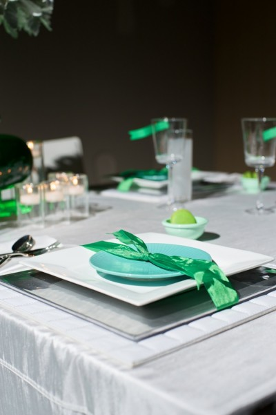 aqua white and kelly green tabletop centerpieces