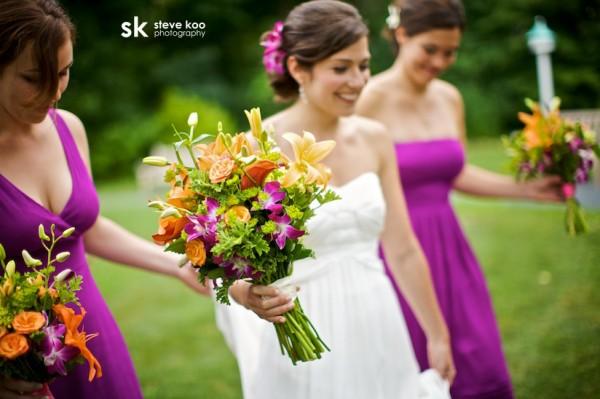 Purple Bridesmaids Dresses Orange Bouquets