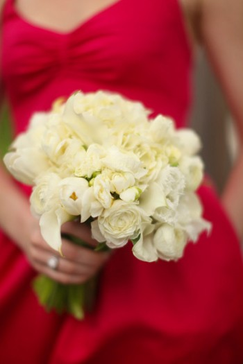 red-bridesmaids-dress-with-fluffy-white-bouquet