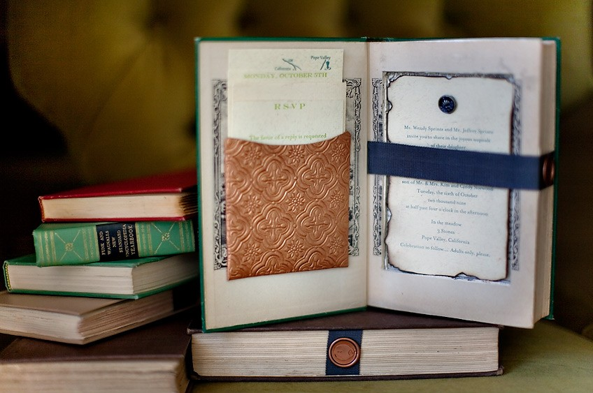 Altered Book Wedding Invitations Lock and Key Theme