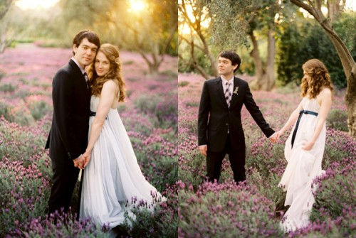 bride-and-groom-in-lavender-field