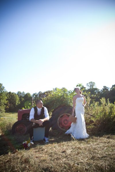 bride-and-groom-with-tractor