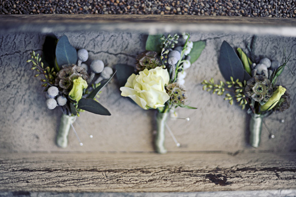 Gray and Green Boutonnieres with Berries