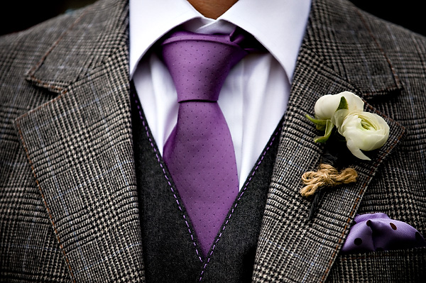 06fbcd2a065d Gray and purple is one of my favorite color palettes for men, and the  ranunculus bouquet tied with yarn is a perfect compliment to the stitching  on the vest ...