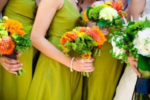 lime-green-bridesmaids-dresses-orange-bouquets