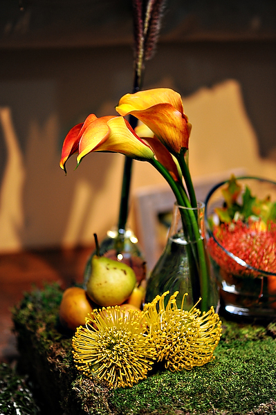pears-spider-mums-calla-lillies-yellow-orange-centerpieces