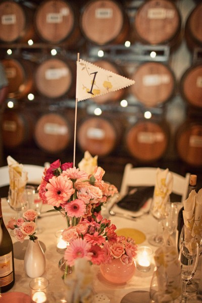 pink-diy-wedding-centerpieces-fabric-flag-table-numbers