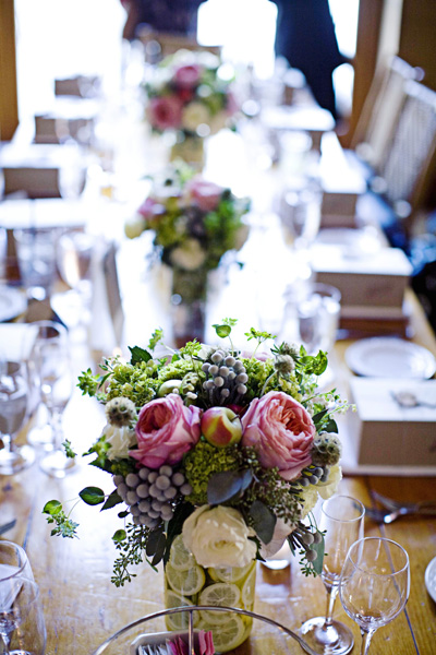 Pink Centerpieces with Limes