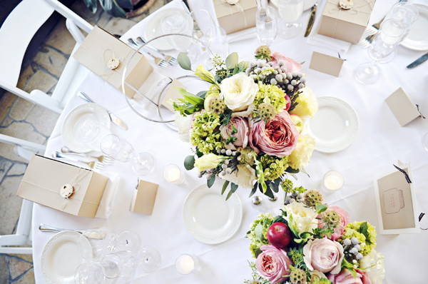 Pink Red Green Centerpieces
