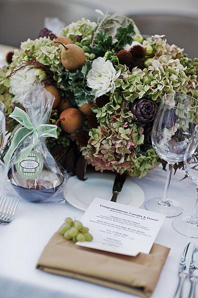Hydrangea Wedding Centerpieces. Napa Wine Country Wedding